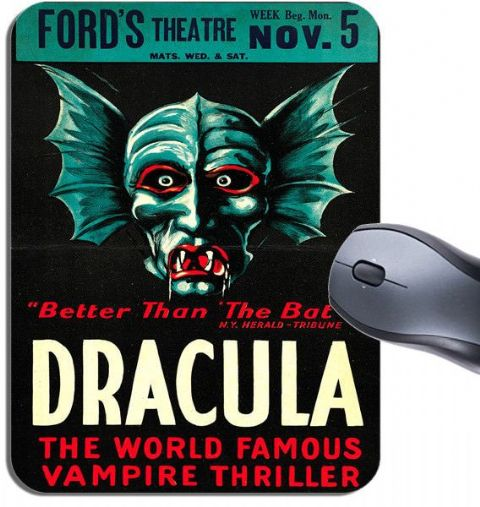 Dracula Vintage Theatre Movie Card Poster Mouse Mat. Theater Cinema Mouse Pad
